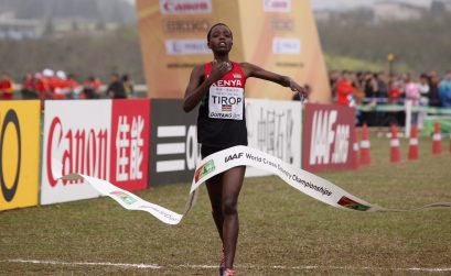 Kenya's Agnes Tirop winning at the IAAF World Cross country Championships Guiyang 2015 © Getty Images for the IAAF