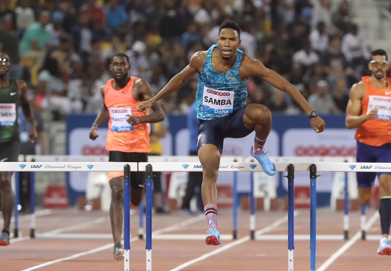 Abderrahman Samba (QAT) set a Diamond League and Meeting Record of 47.57 (WL, NR, PB) in the Men's 400m Hurdles at the Doha 2018 IAAF Diamond League meeting © Hasse Sjögren