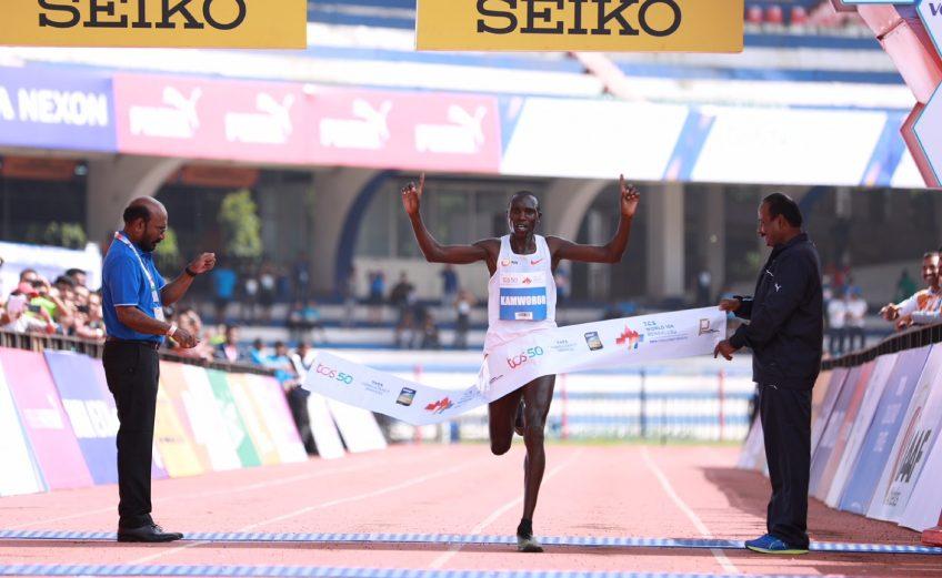 Kenya's Geoffrey Kamworor winning the TCS World 10K Bengaluru 2018 Photo credit: Procam International