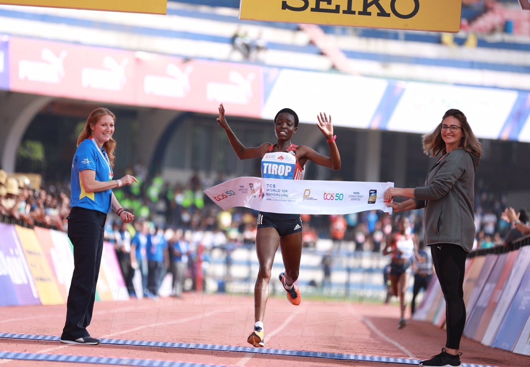 Kenya's Agnes Tirop winning the TCS World 10K Bengaluru 2018 Photo credit: Procam International