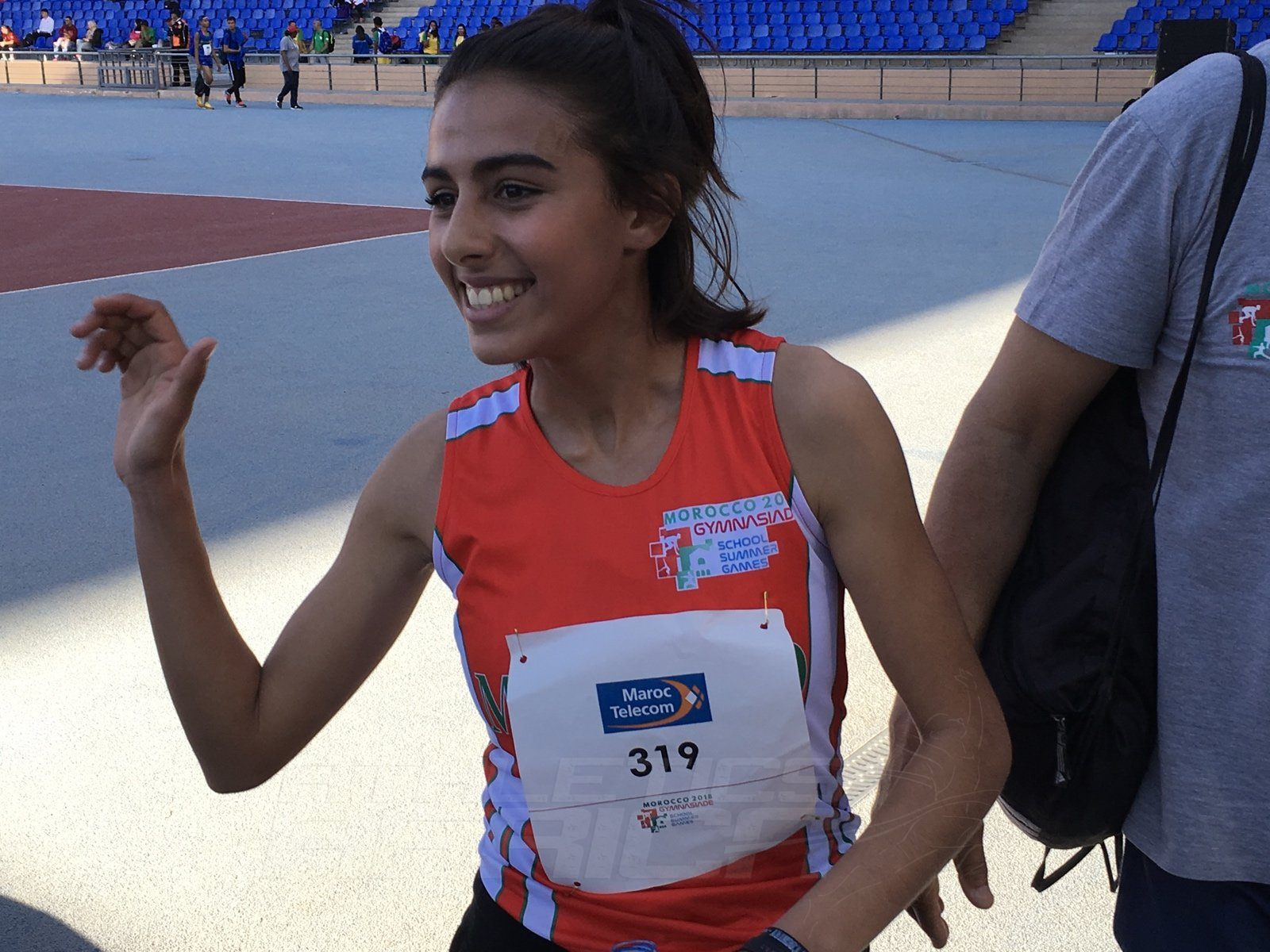 Morocco's Yassmine Bidkane all smiles after winning the Girls 1500m at the Gymnasiade 2018 in Marrakech / Photo Credit: Yomi Omogbeja