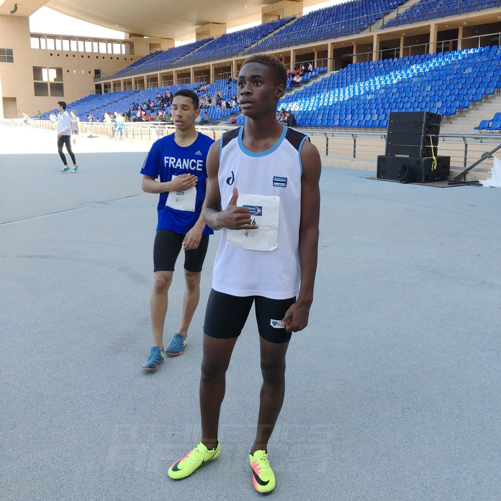 Bernard Olesite of Botswana after winning the boys 400m at the Gymnasiade 2018 in Marrakech / Photo Credit: Yomi Omogbeja