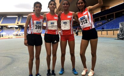 Morocco's Girls 200mx400mx600mx800m relay team after winning gold at Gymnasiade 2018 / Photo Credit: Yomi Omogbeja
