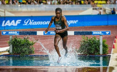 Beatrice Chepkoech (Kenya) on her way to winning the steeplechase at the IAAF Diamond League meeting in Monaco (Philippe Fitte)