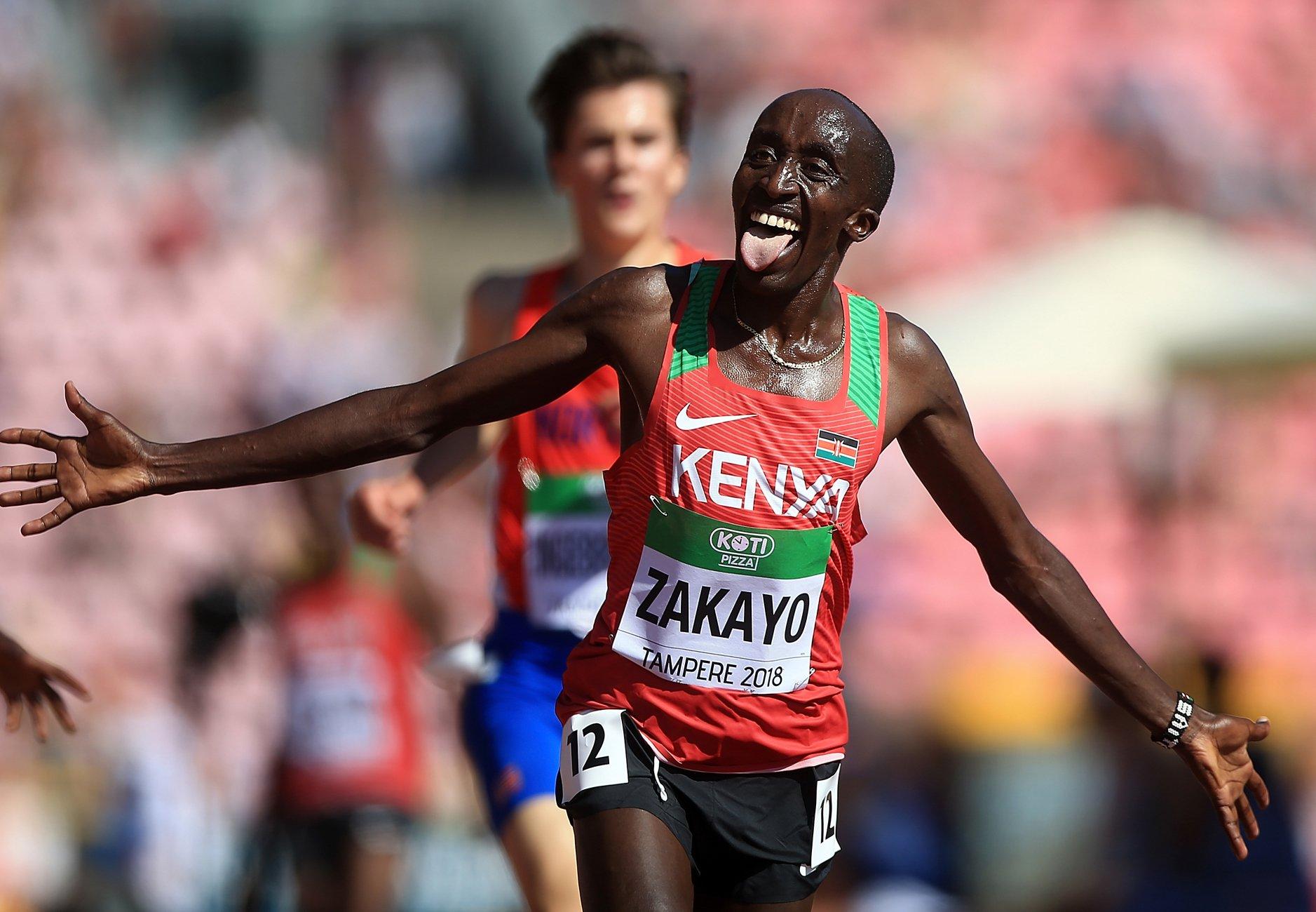 Edward Zakayo of Kenya celebrates winning the 5000m at the IAAF World U20 Championships Tampere 2018 / Photo Credit: Getty Images for IAAF