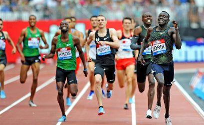 Setting a World Lead and Meeting Record of 1:42.05 (PB), Emmanuel Kipkurui Korir (KEN) won the Men's 800m at the 2018 Müller Anniversary Games in London © Mark Shearman