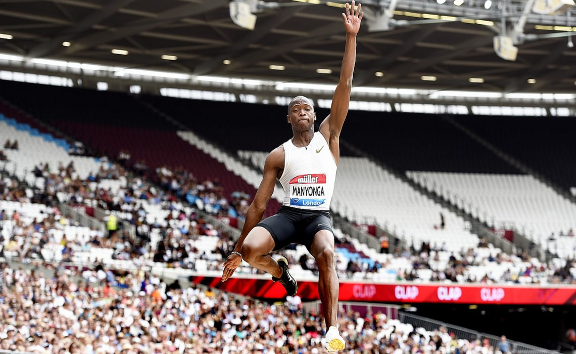 Luvo Manyonga (RSA) set a Meeting Record of 8.58m in the Men's Long Jump at the 2018 Müller Anniversary Games in London © Mark Shearman