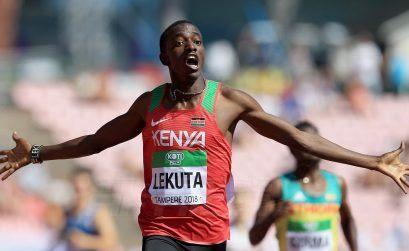 Solomon Lekuta celebrates winning the men's 800m gold for Kenya at the IAAF World U20 Championships Tampere 2018 / Photo Credit: Getty Images for IAAF