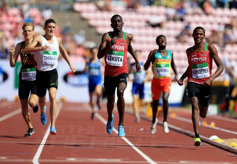 Solomon Lekuta sprints home to win the men's 800m gold for Kenya at the IAAF World U20 Championships Tampere 2018 / Photo Credit: Getty Images for IAAF