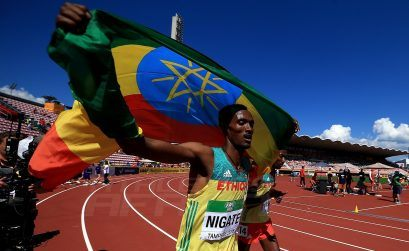 Takele Nigate of Ethiopia celebrates winning the men's 3000m steeplechase at the IAAF World U20 Championships Tampere 2018 / Photo Credit: Getty for the IAAF