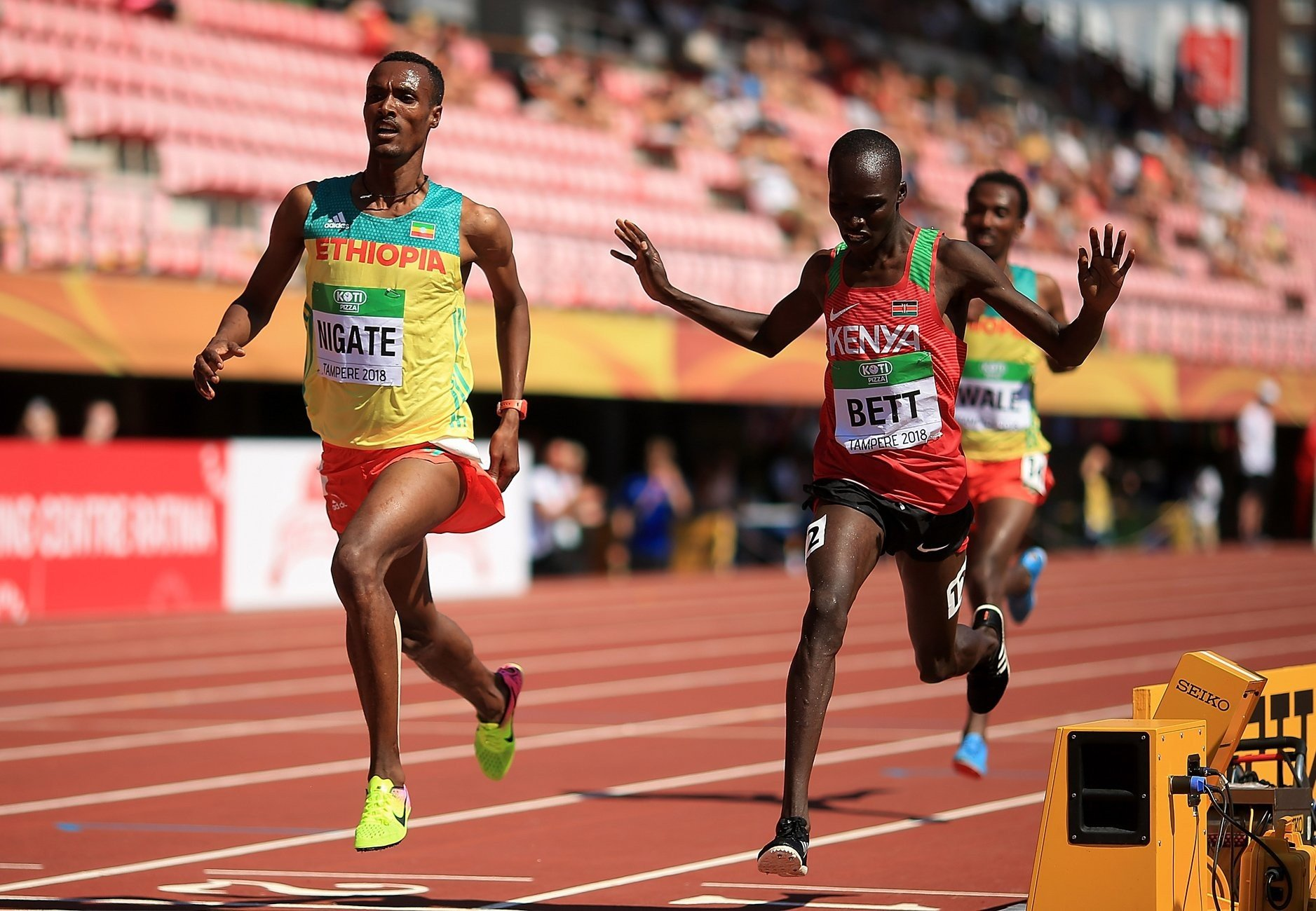 Takele Nigate of Ethiopia outsprints Kenyan Leonard Bett to win the men's 3000m steeplechase at the IAAF World U20 Championships Tampere 2018 / Photo Credit: Getty for the IAAF