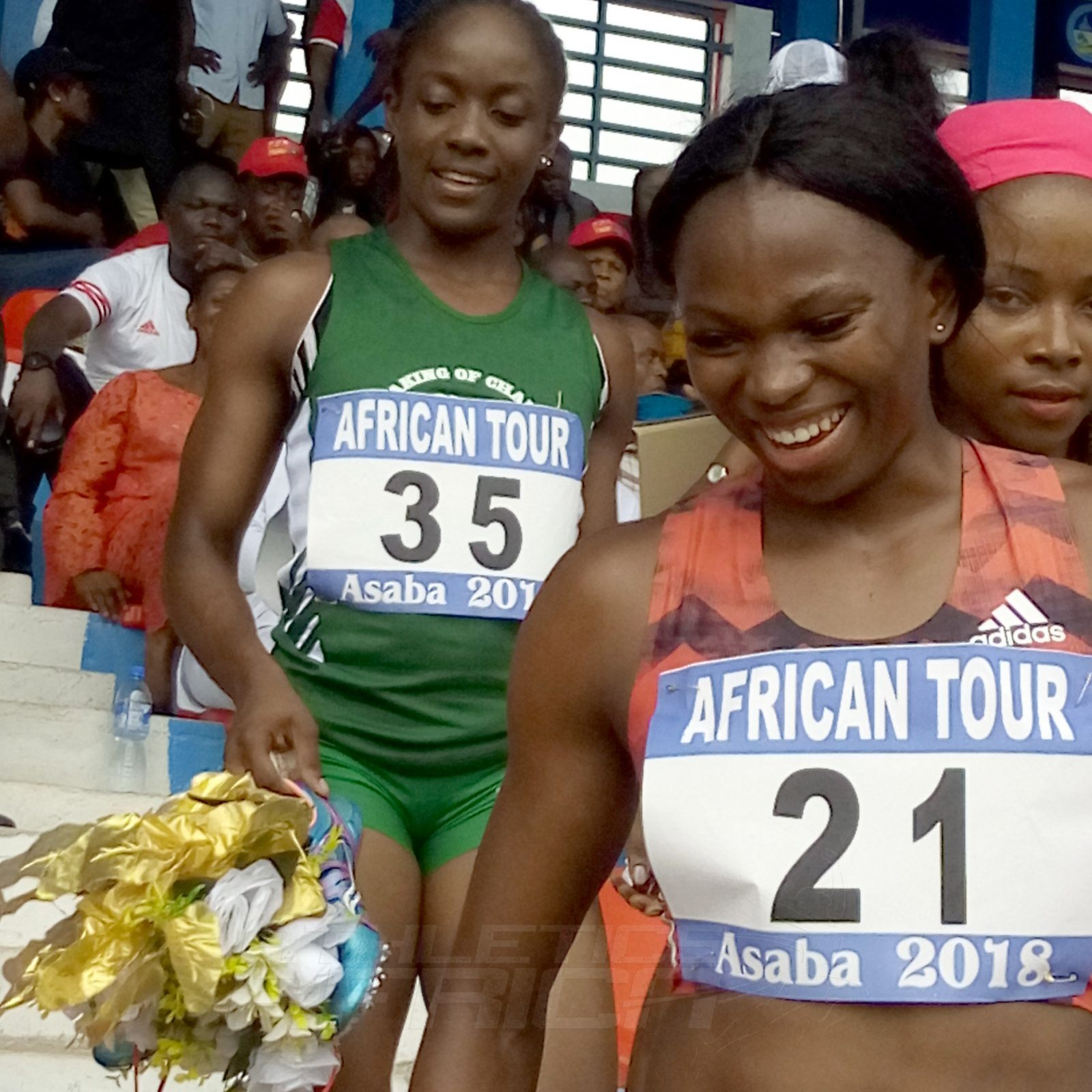 MoC's Joy Udo Gabriel after she won the women's 100m in a PB of 11.40 secs. / Photo credit: Naomi Peters for Athletics Africa