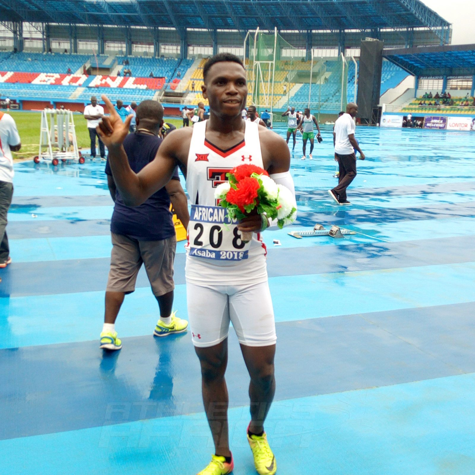 Divine Oduduru won the men's 100m in 10.40 secs. Ogho-Oghene Egwero finished 2nd in 10.46 and Enoch Adegoke 3rd in 10.52. / Photo credit: Naomi Peters for Athletics Africa