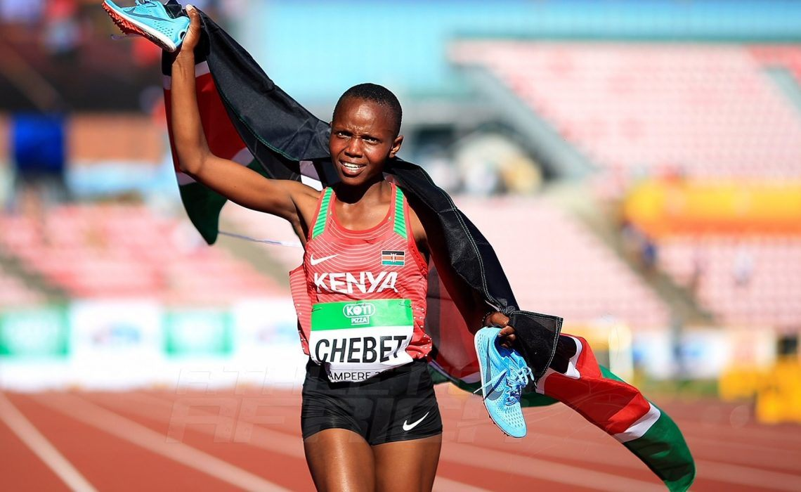 Beatrice Chebet of Kenya celebrates winning the women's 5000m at the IAAF World U20 Championships Tampere 2018 (Getty Images for the IAAF)