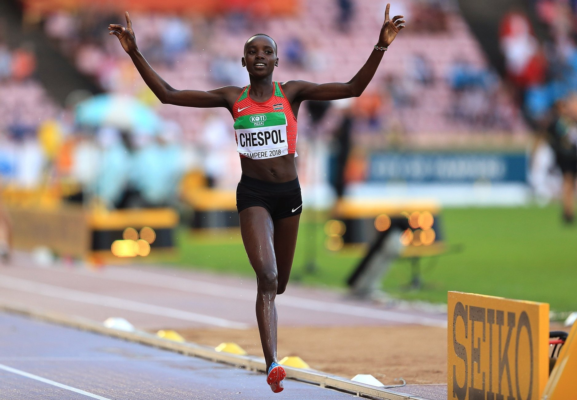 Kenyan Celiphine Chespol takes 3000m steeplechase gold at the IAAF World U20 Championships Tampere 2018 / Photo credit: Getty Images for IAAF