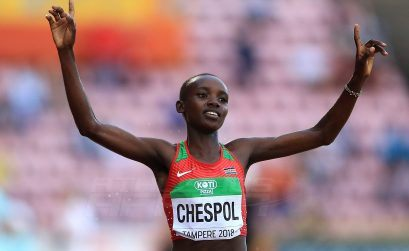 Kenya's Celiphine Chespol takes 3000m steeplechase gold at the IAAF World U20 Championships Tampere 2018 / Photo credit: Getty Images for IAAF