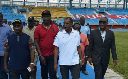 Vivian Gungaram, vice-president and technical director of the Confederation of African Athletics (CAA) and other participants for the Delegates Registration Meeting for CAA Asaba 2018 tour the facilities at the Stephen Keshi Stadium in Asaba on Tuesday 10 July, 2018 / Photo Credit: Asaba 2018 LOC