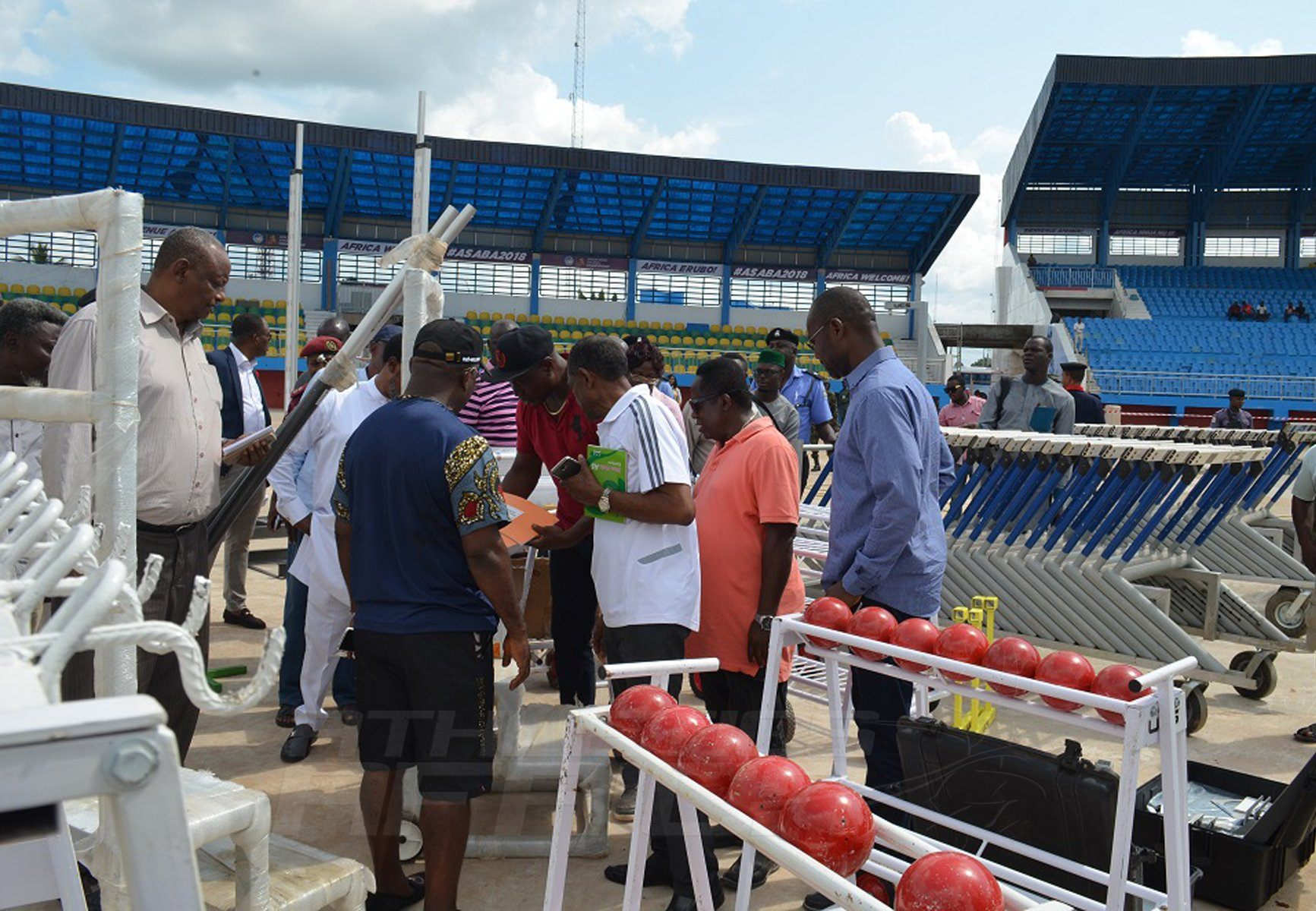 Participants for the Delegates Registration Meeting for CAA Asaba 2018 tour the facilities at the Stephen Keshi Stadium in Asaba on Tuesday 10 July, 2018 / Photo Credit: Asaba 2018 LOC