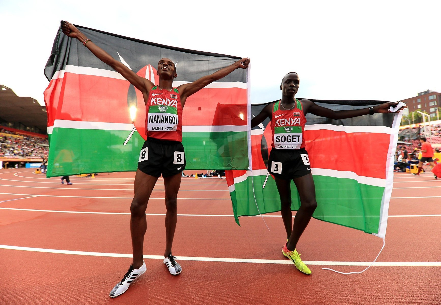 Kenya's George Manangoi celebrates winning the Men's 1500m with compatriot Justus Soget at the IAAF World U20 Championships Tampere 2018 / Photo Credit: Getty Images for IAAF
