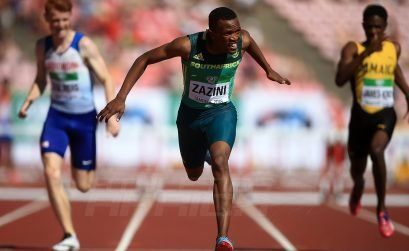Sokwakhana Zazini of South Africa wins the 400m hurdles at the IAAF World U20 Championships Tampere 2018 / Photo Credit: Getty Images for IAAF