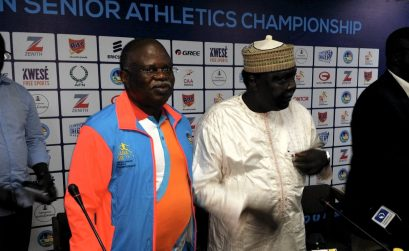 CAA President Hamad Kalkaba Malboum and Asaba 2018 LOC Chairman Solomon Ogba addressing the press at the joint LOC/CAA press Conference in Asaba, Nigeria - 30 July 2018. / Photo credit: LOC