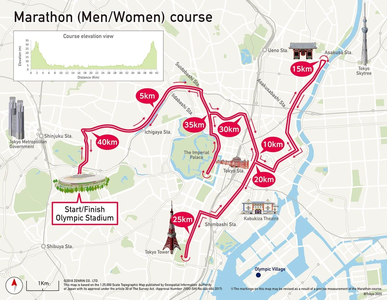 Maps of the marathon events / Photo credit: Tokyo 2020 LOC