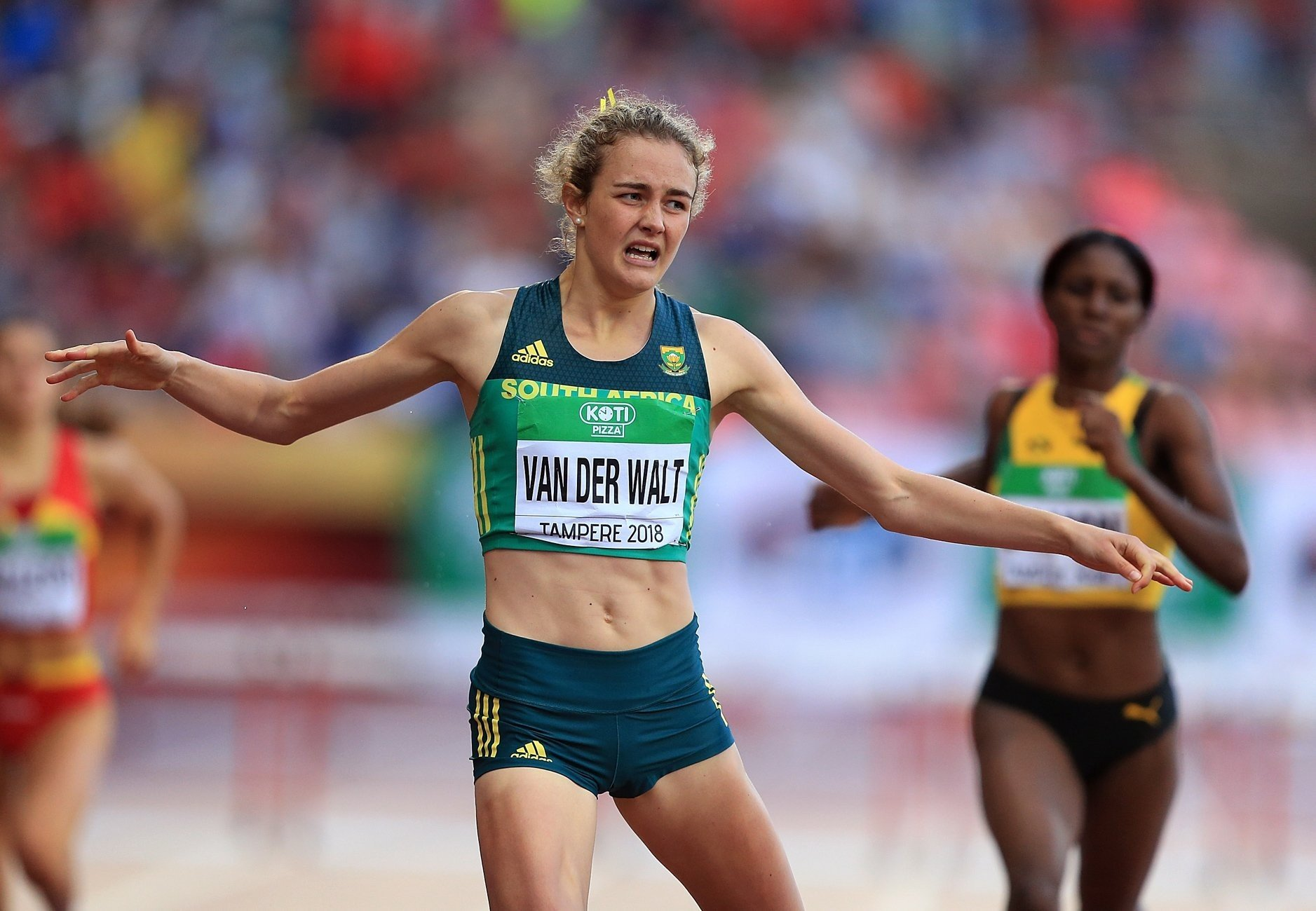 Zeney van der Walt of South Africa takes gold in the 400m hurdles at the IAAF World U20 Championships Tampere 2018 / Photo Credit: Getty Images for IAAF