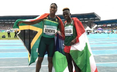South Africa's Caster Semenya and Francine Burundi after the taking gold and silver in women's 800m at the 2018 African Senior Championships in Asaba / Photo credit: Yomi Omogbeja