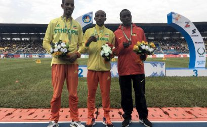 Ethiopian Jemal Yimer Mekonnen wins the men's 10,000m title to claim the first gold medal of Asaba 2018 CAA African Senior Championships. / Photo creidt: Yomi Omogbeja