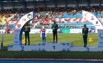 Medal presentation to Ese Brume and other medallists - women's Long Jump - Asaba 2018 / Photo credit: Yomi Omogbeja for Athletics Africa