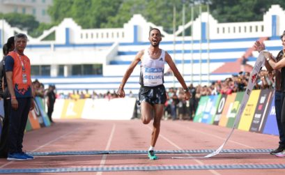 Ethiopia's Andamlak Belihu winning the TCS World 10K Bengaluru 2019 / Photo credit Procam International