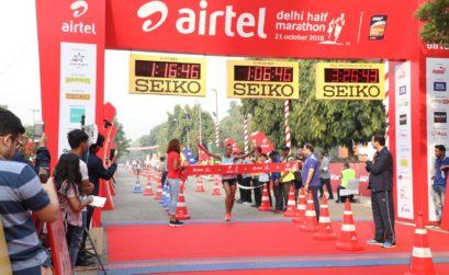 Ethiopia's Tsehay Gemechu winning the Airtel Delhi Half Marathon 2018