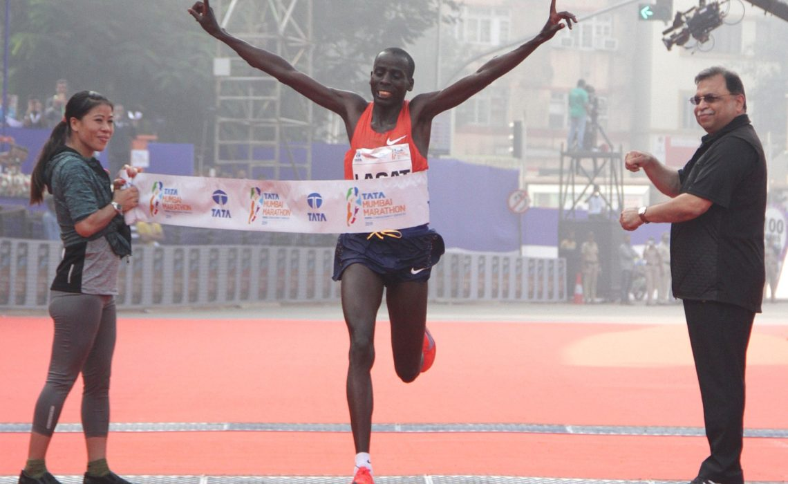 Kenya's Cosmas Lagat wins at the Tata Mumbai Marathon 2019 / Photo credit Procam International