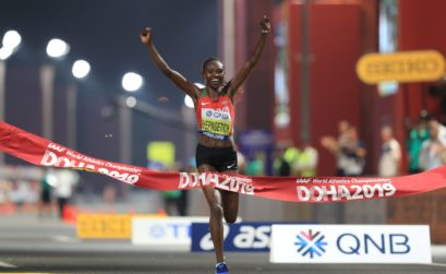 Kenya's Ruth Chepngetich celebrates winning the first gold medal of the 2019 IAAF World Championships in Doha / Photo credit: ©Getty Images