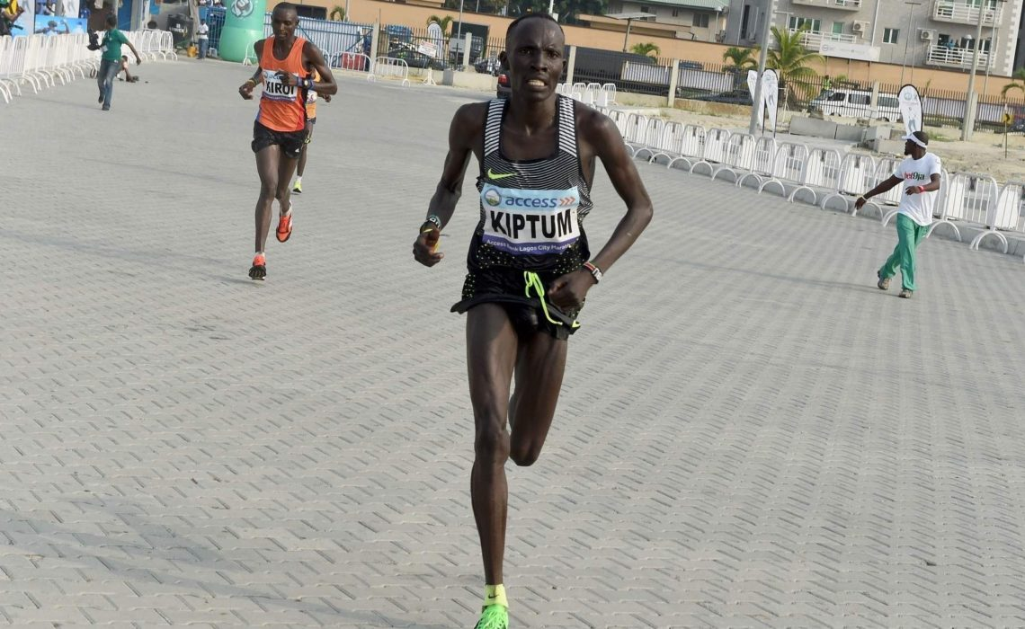 Kenyan Abraham Kiptum winning the Lagos International Marathon