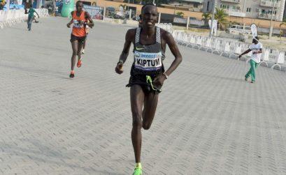 Kenyan Abraham Kiptum winning the Lagos International Marathon