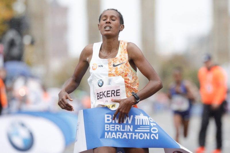 Ashete Bekere wins at the Berlin-Marathon 2019 / credit: SCC EVENTS / Norbert Wilhelmi