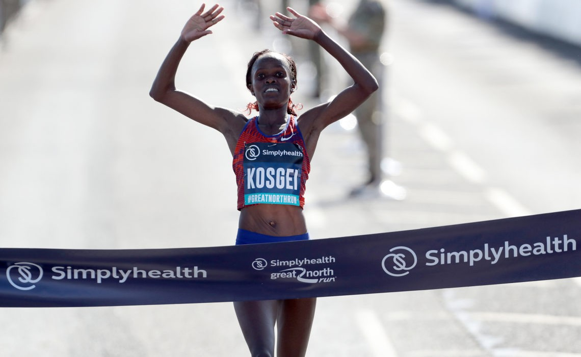Kenya's Brigid Kosgei wins the women's elite race during the Great North Run in Newcastle, UK, September 8, 2019. / VCG Photo