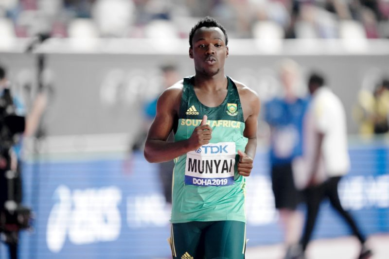 South Africa's Clarence Munyai during the men's 200m in Doha / Photo credit: Getty Images for IAAF