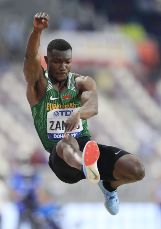 Hugues Fabrice Zango of Burkina Faso competes in the Men's Triple Jump final during day three of 17th IAAF World Athletics Championships Doha 2019 at Khalifa International Stadium on September 29, 2019 in Doha, Qatar. (Photo by Andy Lyons/Getty Images for IAAF)