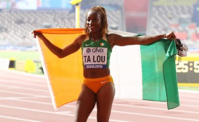 Marie-Josée Ta Lou of the Ivory Coast, bronze, celebrates after the Women's 100 Metres final during day three of 17th IAAF World Athletics Championships Doha 2019 at Khalifa International Stadium on September 29, 2019 in Doha, Qatar. (Photo by Alexander Hassenstein/Getty Images for IAAF )