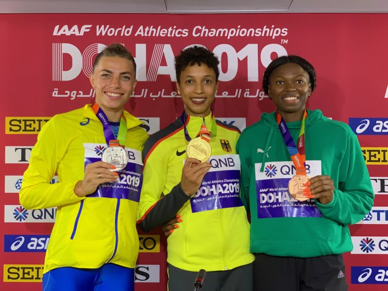 Ese Brume of Nigeria with long jump podium finishers