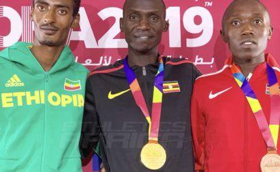 Men's 10000m podium - Doha 2019