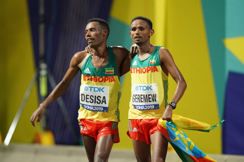 Lelisa Desisa and Mosinet Geremew 1-2 wins men's Marathon in Doha 2019