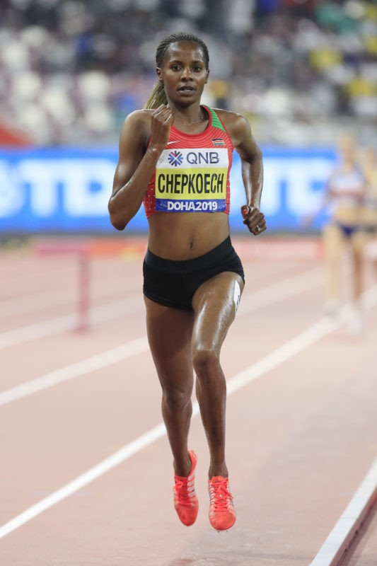 Beatrice Chepkoech of Kenya competes in the Women's 3000 metres Steeplechase final during day four of 17th IAAF World Athletics Championships Doha 2019 at Khalifa International Stadium on September 30, 2019 in Doha, Qatar. (Photo by Andy Lyons/Getty Images for IAAF)