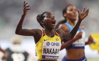 Halimah Nakaayi of Uganda celebrates winning gold in the Women's 800 metres final during day four of 17th IAAF World Athletics Championships Doha 2019 at Khalifa International Stadium on September 30, 2019 in Doha, Qatar. (Photo by Alexander Hassenstein/Getty Images for IAAF)