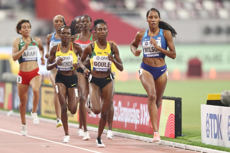 Halimah Nakaayi of Uganda and Ajee Wilson of the United States competes in the Women's 800 metres final during day four of 17th IAAF World Athletics Championships Doha 2019 at Khalifa International Stadium on September 30, 2019 in Doha, Qatar. (Photo by Andy Lyons/Getty Images for IAAF)