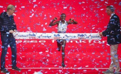 Valary Aiyabei winning the 2019 Frankfurt Marathon in Frankfurt, Germany Oct 27, 2019 / Photo credit: Victah Sailer/ PhotoRun