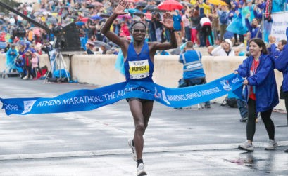 Kenya's John Komen winning the 2019 Athens Marathon in Athens, Greece - November 10, 2019 Photo Credit: Victah Sailer / AMA
