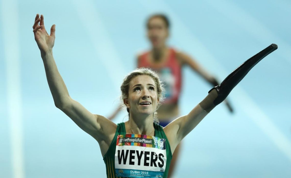 Anrune Weyers celebrates South Africa's first gold medal at Dubai 2019 in the women's 400m T47 ⒸBryn Lennon/Getty Images